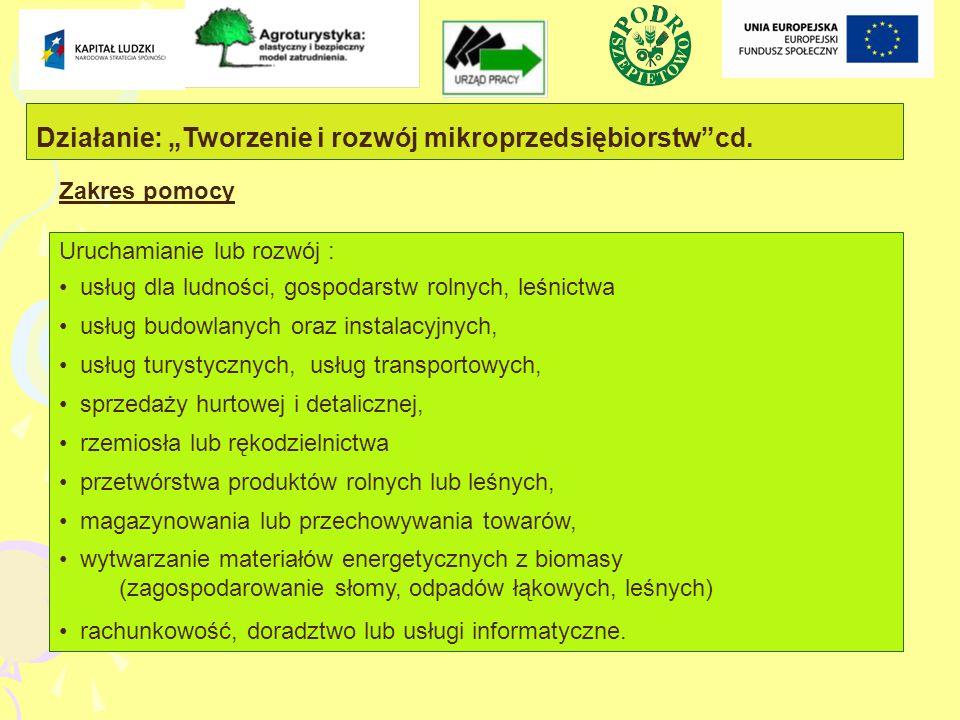 Działanie: Tworzenie i rozwój mikroprzedsiębiorstwcd.