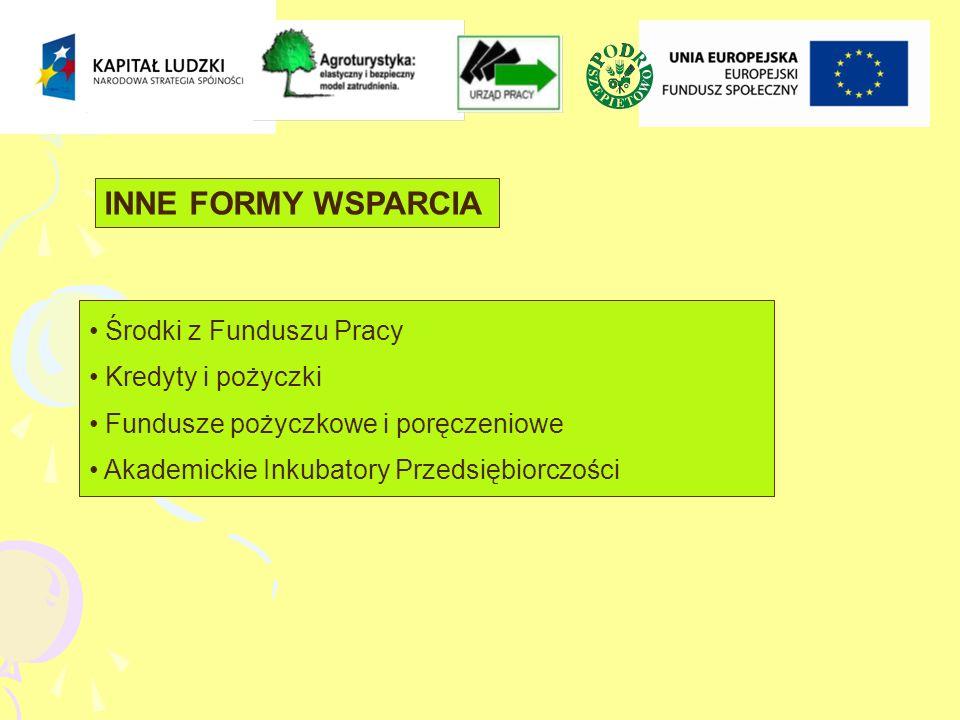 INNE FORMY WSPARCIA Środki z Funduszu Pracy Kredyty i pożyczki Fundusze pożyczkowe i poręczeniowe Akademickie Inkubatory Przedsiębiorczości