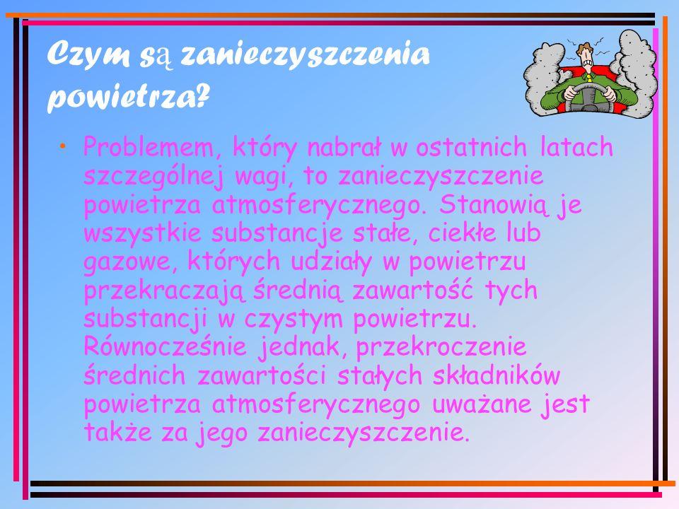 1)Gazy i pary związków chemicznych, np.:tlenki węgla, siarki i azotu, fosfor, ozon, radon, amoniak i węglowodory 2)Drobne kropelki cieczy, np.