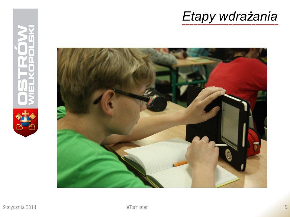 9 stycznia 2014eTornister6 Etapy wdrażania _________________________ Spotkania informacyjne dotyczące projektu dla dyrektorów, nauczycieli, rodziców.