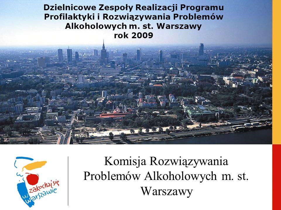 Dzielnicowe Zespoły Realizacji Programu Profilaktyki i Rozwiązywania Problemów Alkoholowych m. st. Warszawy rok 2009 Komisja Rozwiązywania Problemów A