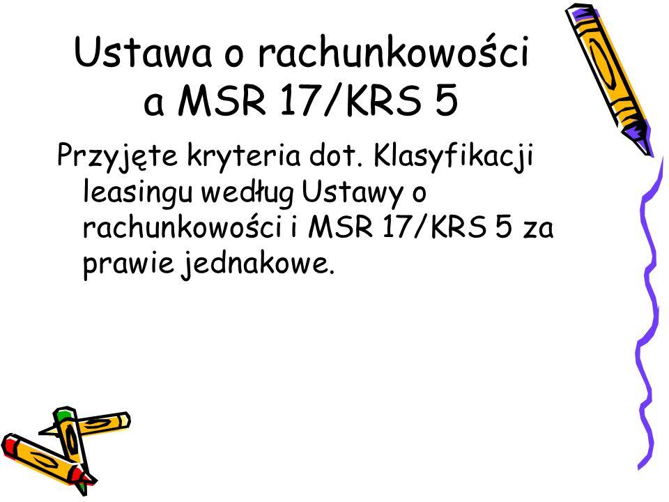 Ustawa o rachunkowości a MSR 17/KRS 5 Przyjęte kryteria dot. Klasyfikacji leasingu według Ustawy o rachunkowości i MSR 17/KRS 5 za prawie jednakowe.