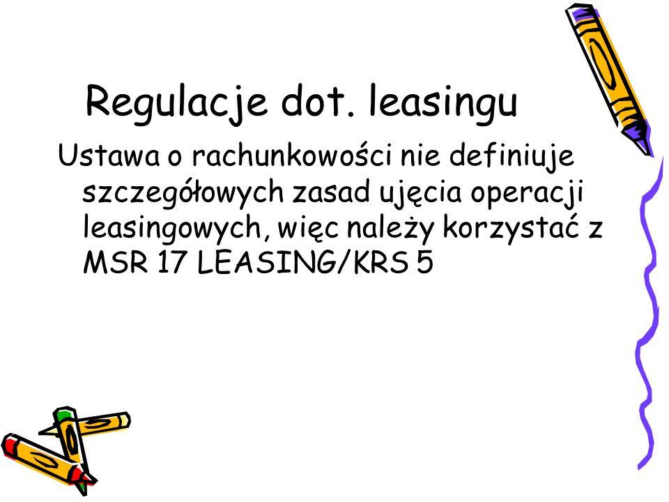 Regulacje dot. leasingu Ustawa o rachunkowości nie definiuje szczegółowych zasad ujęcia operacji leasingowych, więc należy korzystać z MSR 17 LEASING/