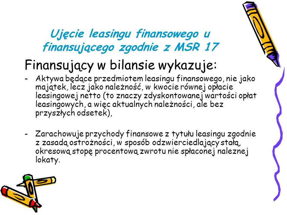 Ujęcie leasingu finansowego u finansującego zgodnie z MSR 17 Finansujący w bilansie wykazuje: -Aktywa będące przedmiotem leasingu finansowego, nie jak