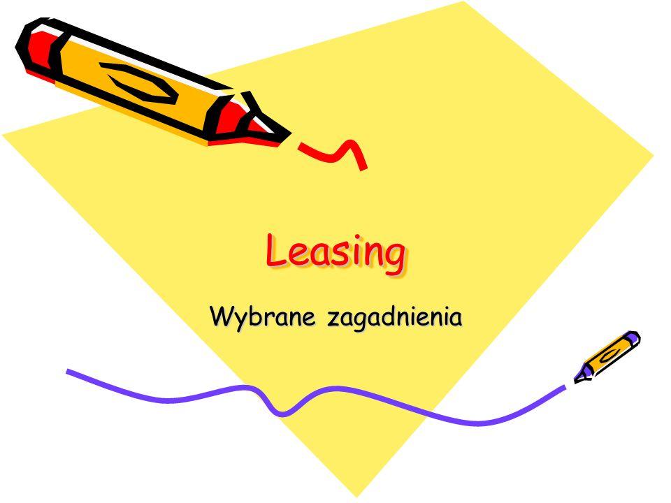 Zakończenie umowy leasingu finansowego Warianty czynności po zakończeniu umowy leasingu finansowego: 1.Przejęcie przedmiotu umowy przez korzystającego bez wniesienia dodatkowej opłaty (leasingobiorca staje się prawnym właścicielem użytkowanego obiektu).