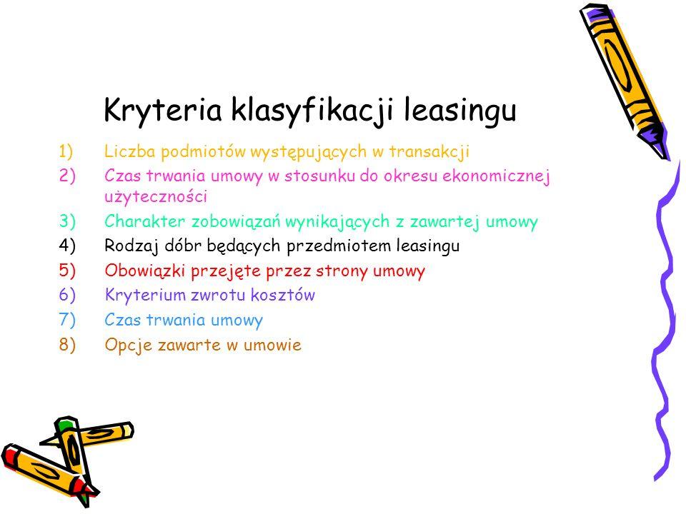 Kryteria klasyfikacji leasingu 1)Liczba podmiotów występujących w transakcji 2)Czas trwania umowy w stosunku do okresu ekonomicznej użyteczności 3)Cha