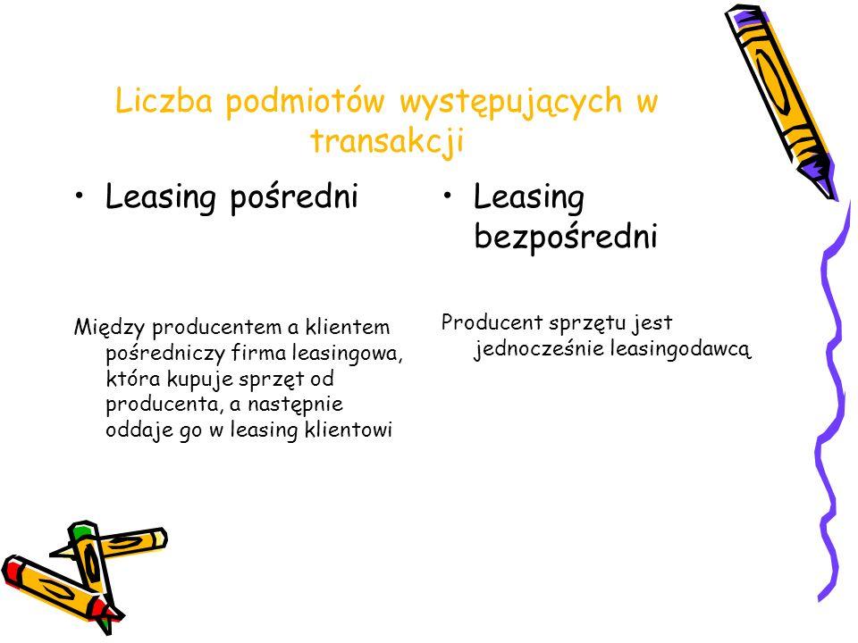Liczba podmiotów występujących w transakcji Leasing pośredni Między producentem a klientem pośredniczy firma leasingowa, która kupuje sprzęt od produc