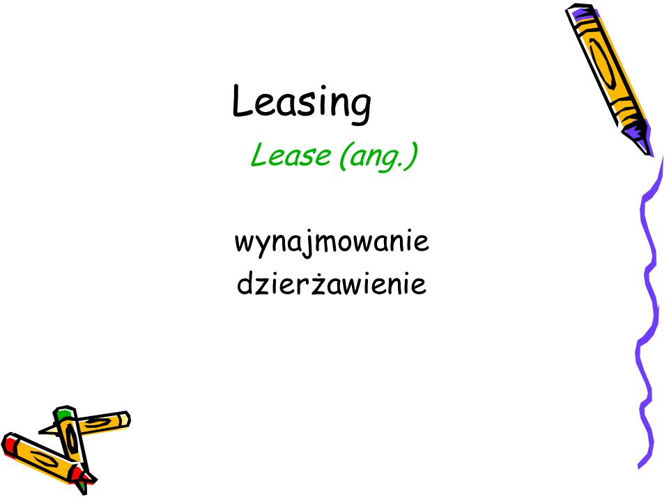 Kryteria klasyfikacji leasingu 1)Liczba podmiotów występujących w transakcji 2)Czas trwania umowy w stosunku do okresu ekonomicznej użyteczności 3)Charakter zobowiązań wynikających z zawartej umowy 4)Rodzaj dóbr będących przedmiotem leasingu 5)Obowiązki przejęte przez strony umowy 6)Kryterium zwrotu kosztów 7)Czas trwania umowy 8)Opcje zawarte w umowie