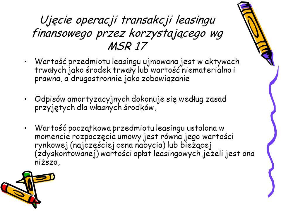 Ujęcie operacji transakcji leasingu finansowego przez korzystającego wg MSR 17 Wartość przedmiotu leasingu ujmowana jest w aktywach trwałych jako środ