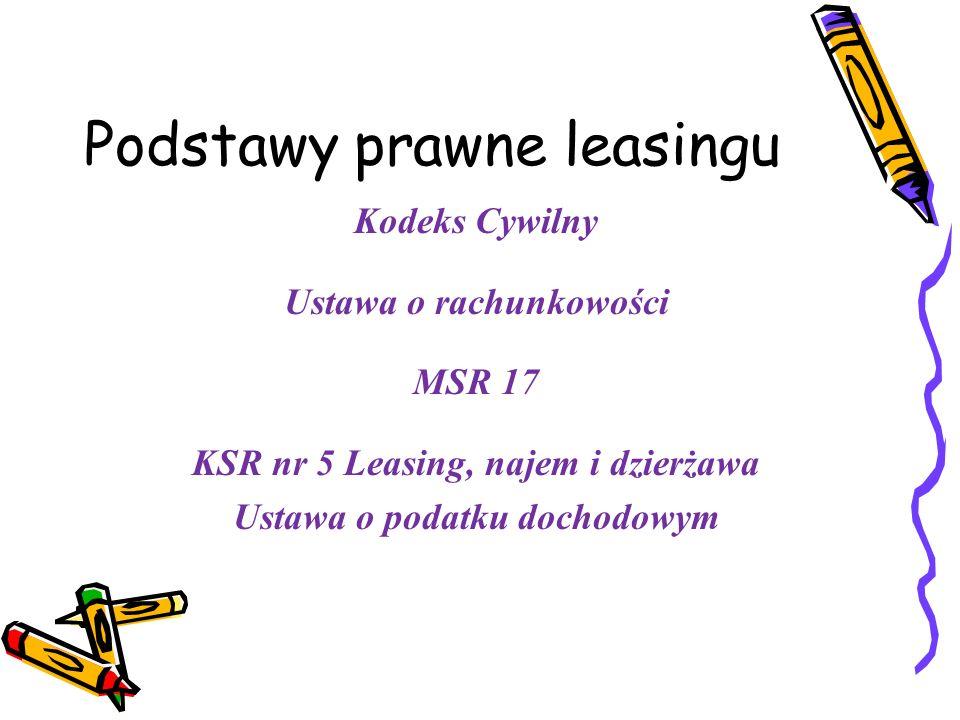 Obowiązki przejęte przez strony umowy (koszty naprawy, konserwacji, remontów, ubezpieczenia) Leasing czysty Obowiązki przejmuje leasingobiorca Leasing pełny Obowiązki obciążają leasingodawcę