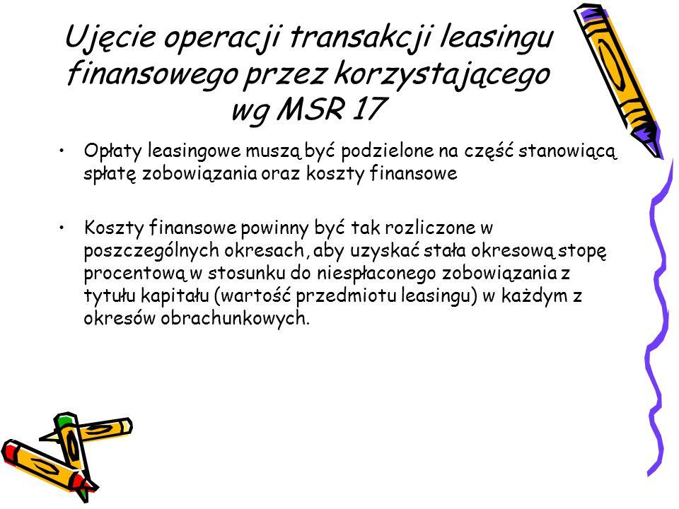 Ujęcie operacji transakcji leasingu finansowego przez korzystającego wg MSR 17 Opłaty leasingowe muszą być podzielone na część stanowiącą spłatę zobow