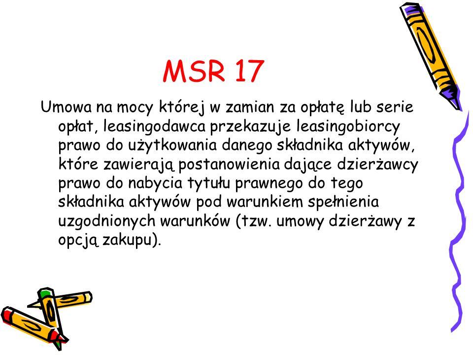 MSR 17 Umowa na mocy której w zamian za opłatę lub serie opłat, leasingodawca przekazuje leasingobiorcy prawo do użytkowania danego składnika aktywów,