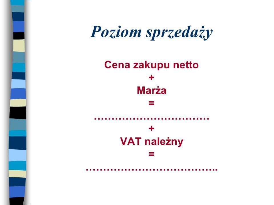 Poziom sprzedaży Cena zakupu netto + Marża = …………………………… + VAT należny = ………………………………..