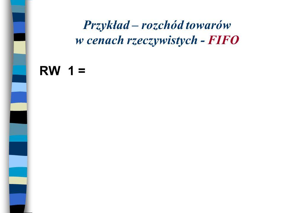 Przykład – rozchód towarów w cenach rzeczywistych - FIFO RW1 =