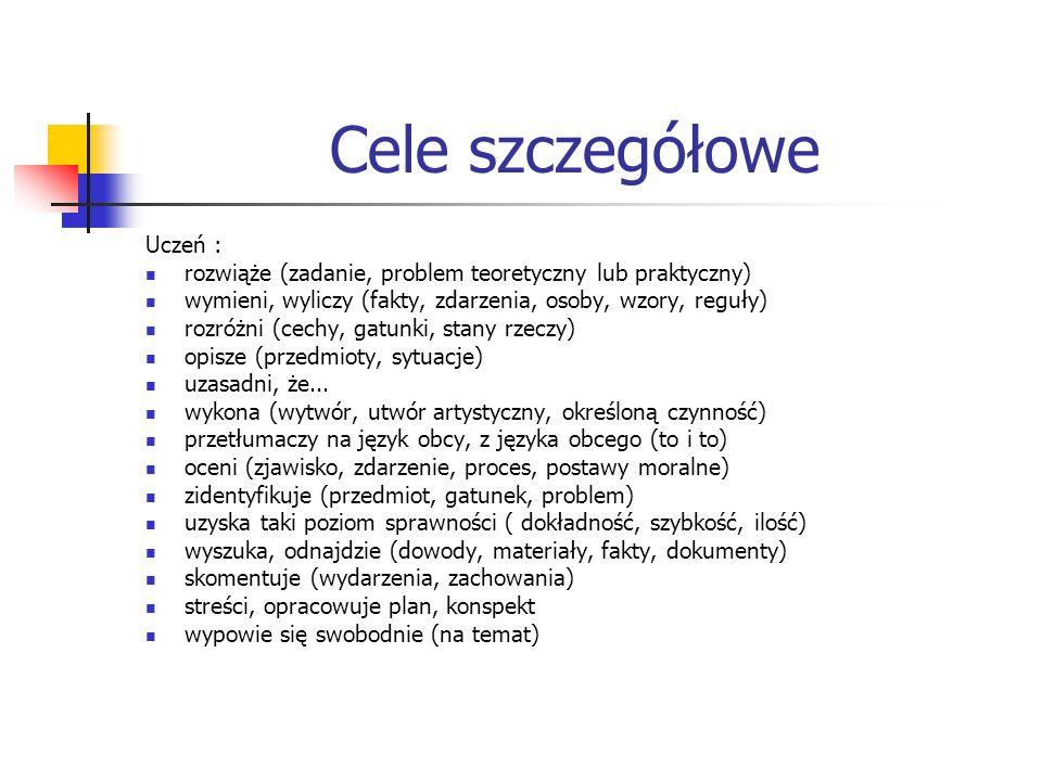 Cele szczegółowe Uczeń : rozwiąże (zadanie, problem teoretyczny lub praktyczny) wymieni, wyliczy (fakty, zdarzenia, osoby, wzory, reguły) rozróżni (ce