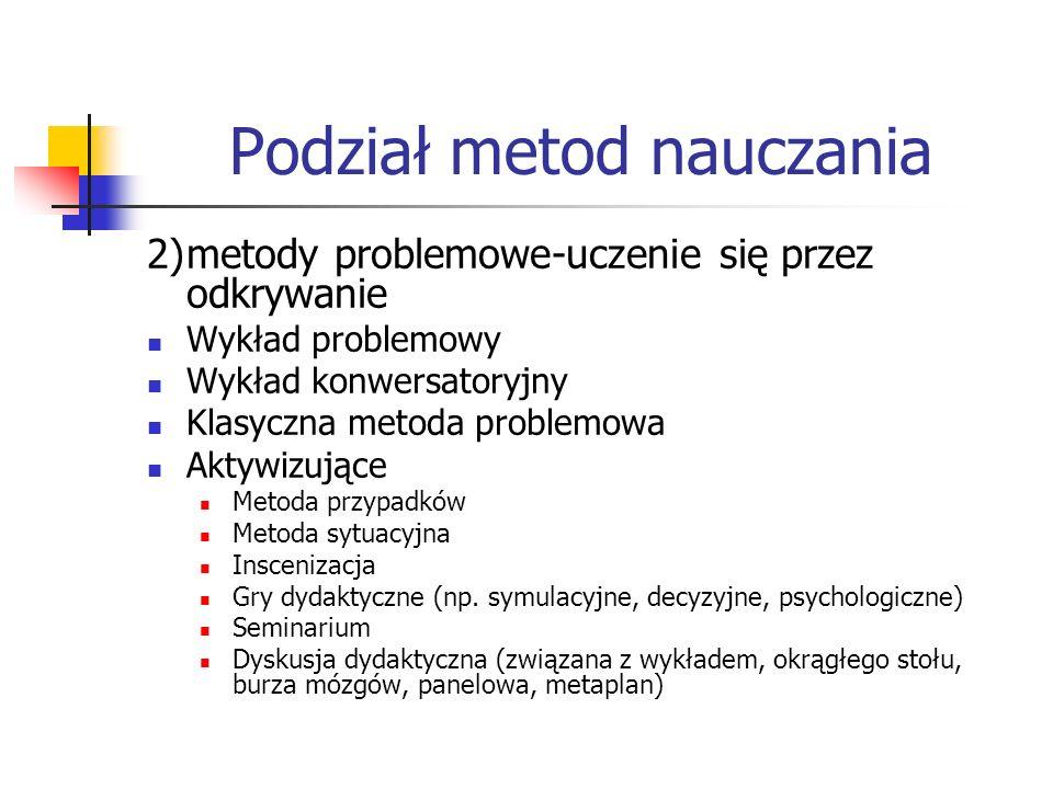 Podział metod nauczania 2)metody problemowe-uczenie się przez odkrywanie Wykład problemowy Wykład konwersatoryjny Klasyczna metoda problemowa Aktywizu