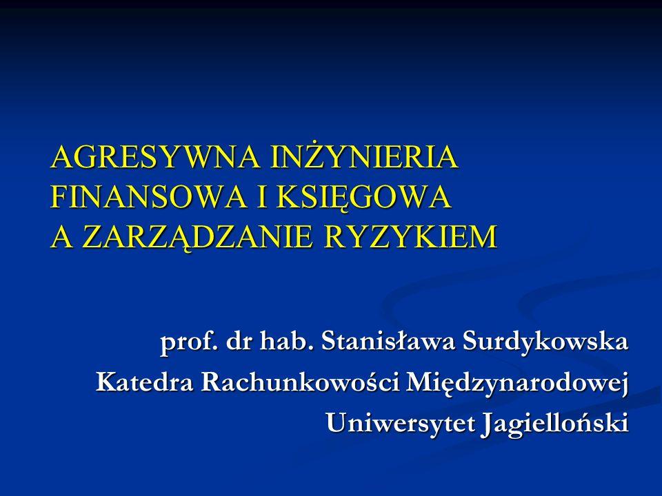 AGRESYWNA INŻYNIERIA FINANSOWA I KSIĘGOWA A ZARZĄDZANIE RYZYKIEM prof.
