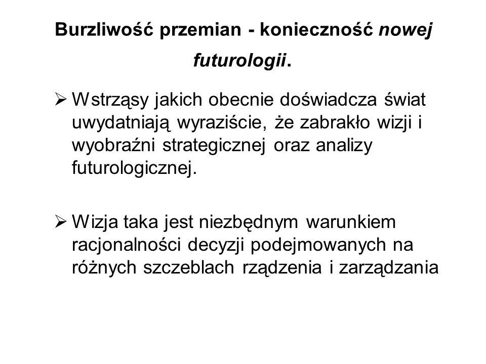 Burzliwość przemian - konieczność nowej futurologii. Wstrząsy jakich obecnie doświadcza świat uwydatniają wyraziście, że zabrakło wizji i wyobraźni st