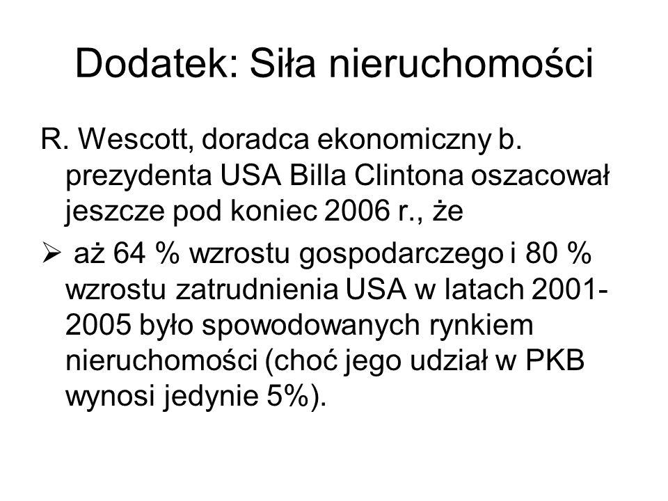 Dodatek: Siła nieruchomości R. Wescott, doradca ekonomiczny b. prezydenta USA Billa Clintona oszacował jeszcze pod koniec 2006 r., że aż 64 % wzrostu