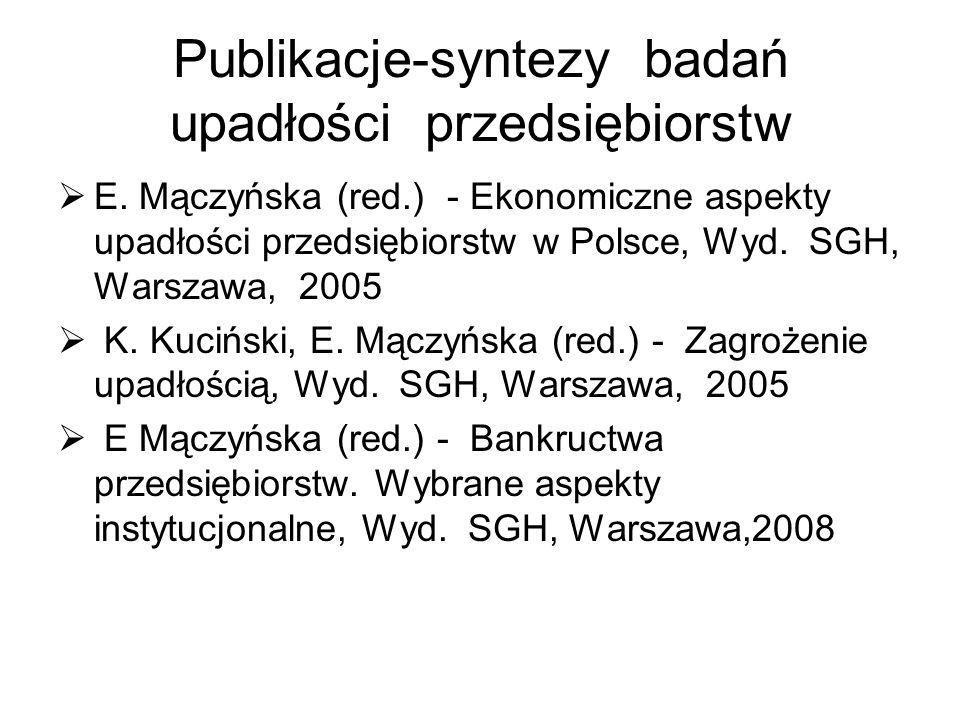 Publikacje-syntezy badań upadłości przedsiębiorstw E. Mączyńska (red.) - Ekonomiczne aspekty upadłości przedsiębiorstw w Polsce, Wyd. SGH, Warszawa, 2