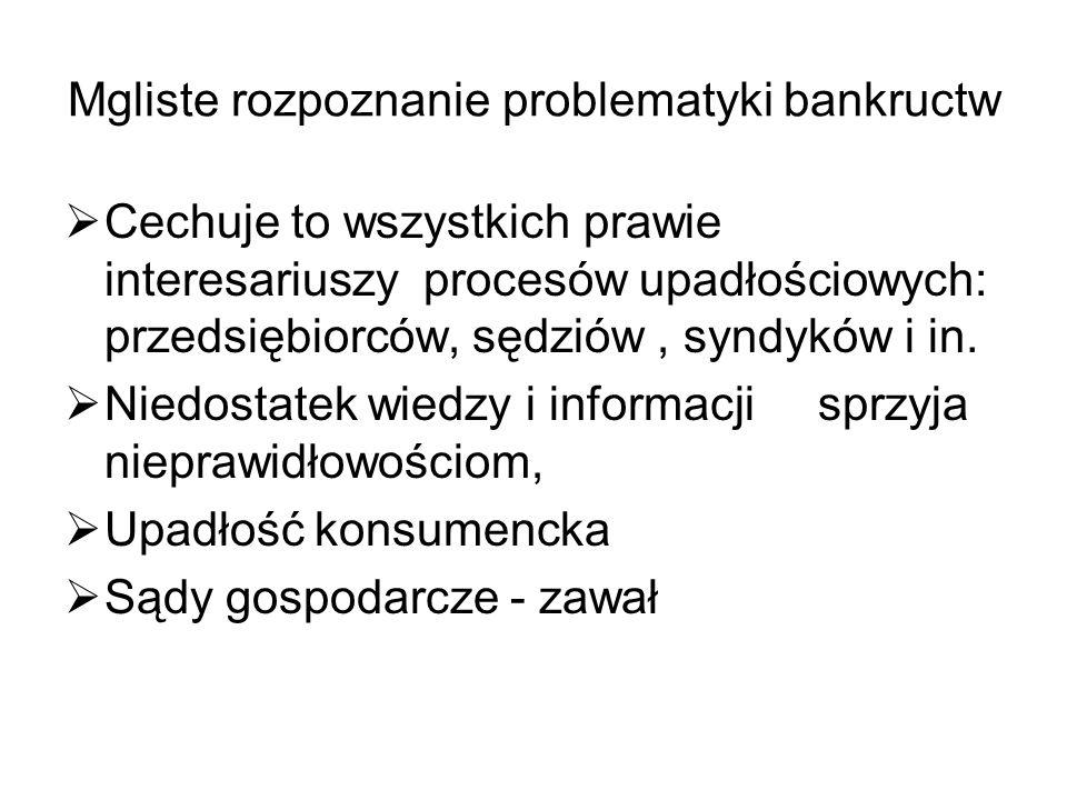 Mgliste rozpoznanie problematyki bankructw Cechuje to wszystkich prawie interesariuszy procesów upadłościowych: przedsiębiorców, sędziów, syndyków i i