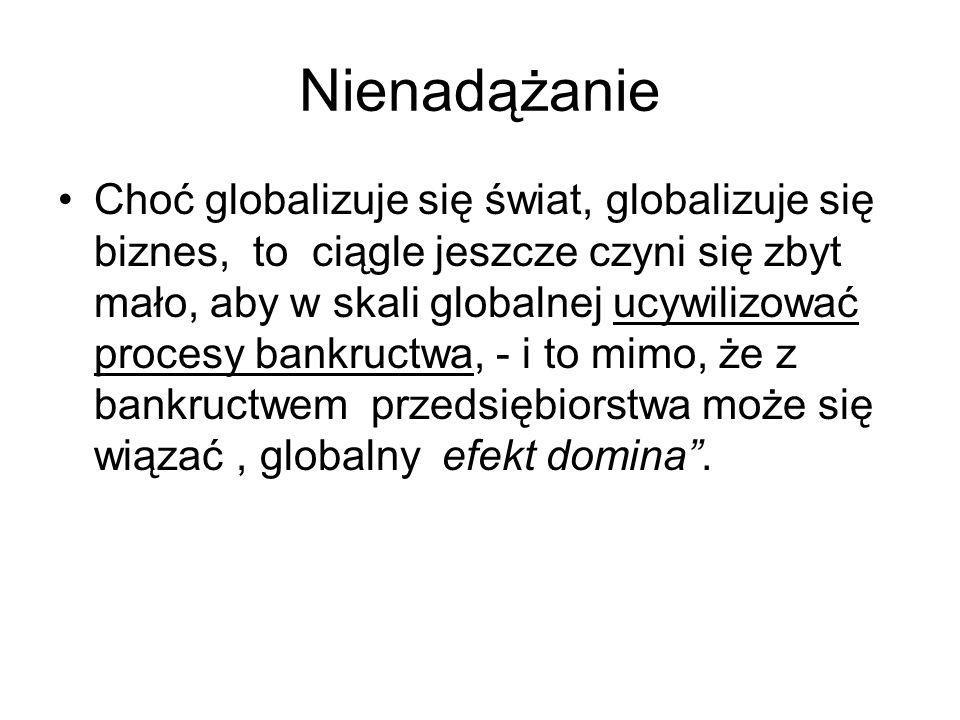 Nienadążanie Choć globalizuje się świat, globalizuje się biznes, to ciągle jeszcze czyni się zbyt mało, aby w skali globalnej ucywilizować procesy ban