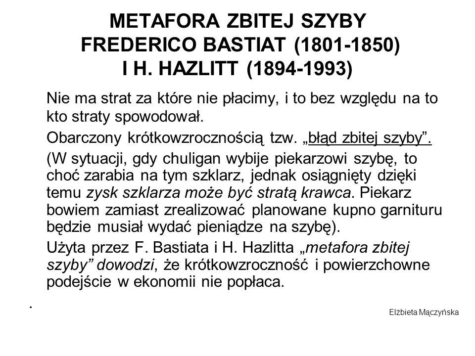 METAFORA ZBITEJ SZYBY FREDERICO BASTIAT (1801-1850) I H. HAZLITT (1894-1993) Nie ma strat za które nie płacimy, i to bez względu na to kto straty spow