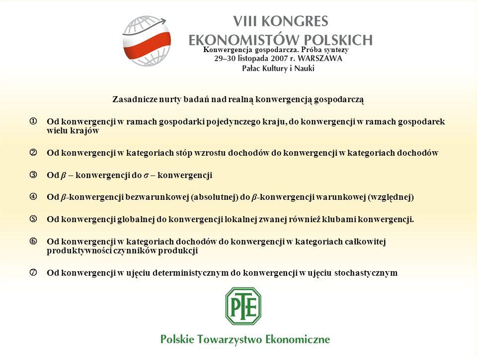 Konwergencja gospodarcza. Próba syntezy Zasadnicze nurty badań nad realną konwergencją gospodarczą Od konwergencji w ramach gospodarki pojedynczego kr