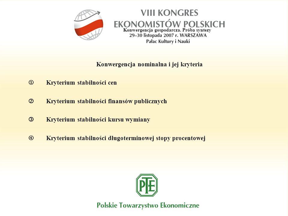 Konwergencja gospodarcza. Próba syntezy Konwergencja nominalna i jej kryteria Kryterium stabilności cen Kryterium stabilności finansów publicznych Kry