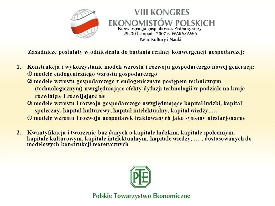 Konwergencja gospodarcza. Próba syntezy Zasadnicze postulaty w odniesieniu do badania realnej konwergencji gospodarczej: 1. Konstrukcja i wykorzystani