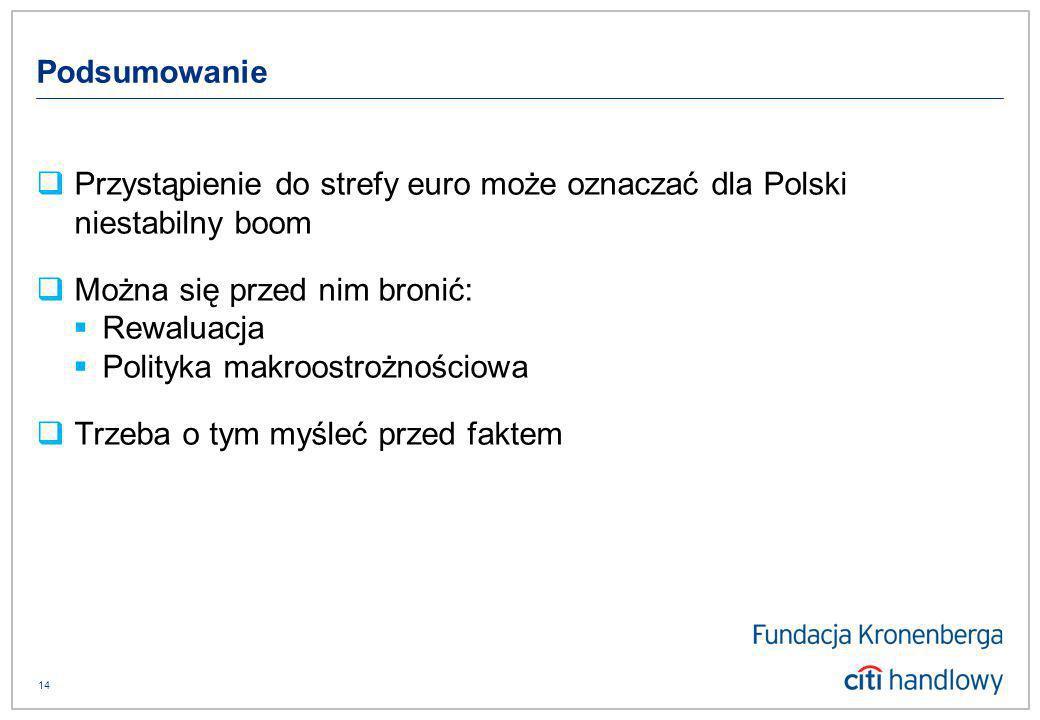 14 Podsumowanie Przystąpienie do strefy euro może oznaczać dla Polski niestabilny boom Można się przed nim bronić: Rewaluacja Polityka makroostrożnościowa Trzeba o tym myśleć przed faktem