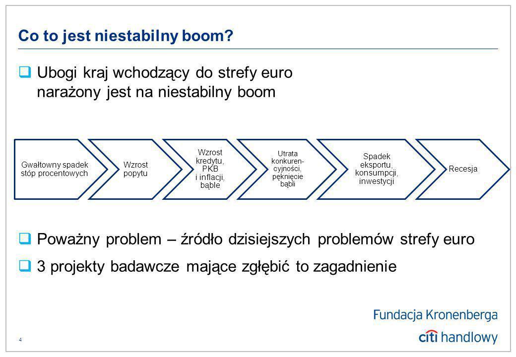 4 Ubogi kraj wchodzący do strefy euro narażony jest na niestabilny boom Poważny problem – źródło dzisiejszych problemów strefy euro 3 projekty badawcze mające zgłębić to zagadnienie Gwałtowny spadek stóp procentowych Wzrost popytu Wzrost kredytu, PKB i inflacji, bąble Utrata konkuren- cyjności, pęknięcie bąbli Spadek eksportu, konsumpcji, inwestycji Recesja Co to jest niestabilny boom?