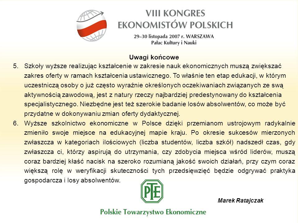 Marek Ratajczak Uwagi końcowe 5.Szkoły wyższe realizując kształcenie w zakresie nauk ekonomicznych muszą zwiększać zakres oferty w ramach kształcenia
