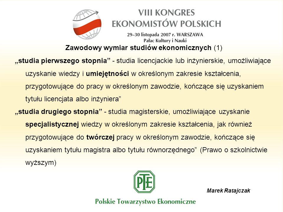 Marek Ratajczak Zawodowy wymiar studiów ekonomicznych (1) studia pierwszego stopnia - studia licencjackie lub inżynierskie, umożliwiające uzyskanie wi