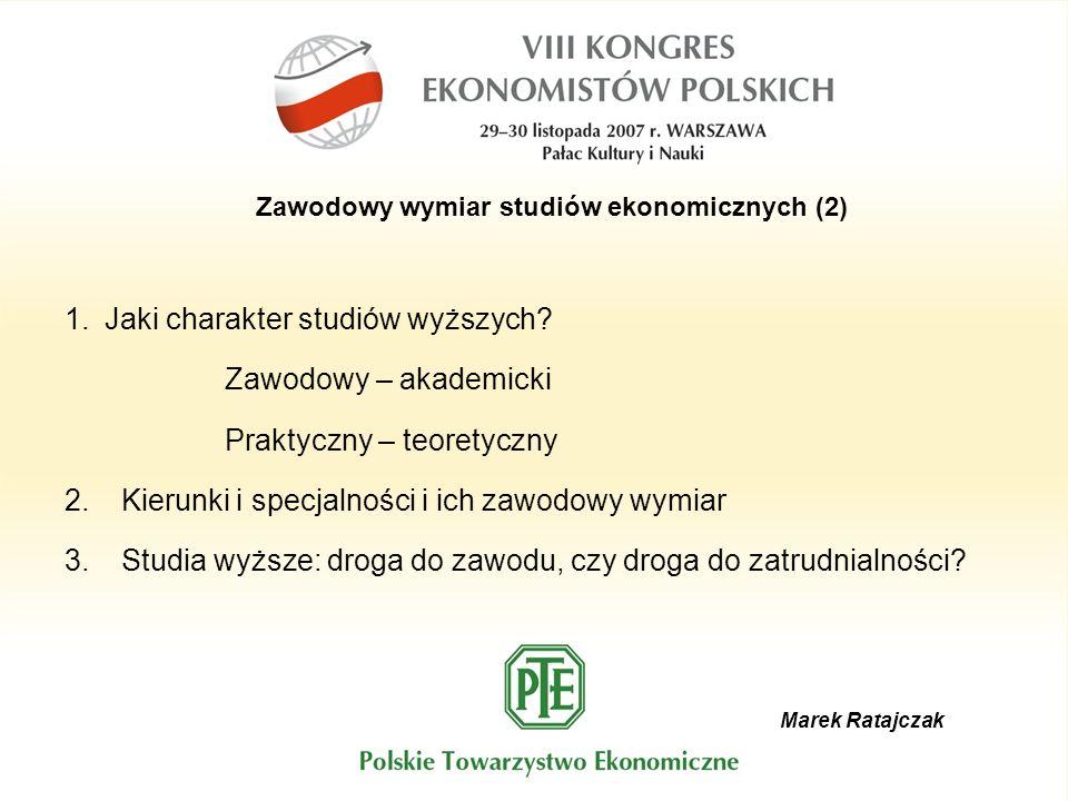 Marek Ratajczak Zawodowy wymiar studiów ekonomicznych (2) 1.Jaki charakter studiów wyższych? Zawodowy – akademicki Praktyczny – teoretyczny 2. Kierunk