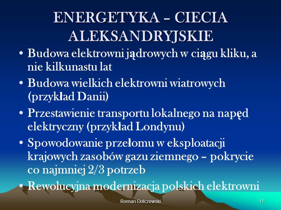 Roman Dolczewski11 ENERGETYKA – CIECIA ALEKSANDRYJSKIE Budowa elektrowni j ą drowych w ci ą gu kliku, a nie kilkunastu lat Budowa wielkich elektrowni