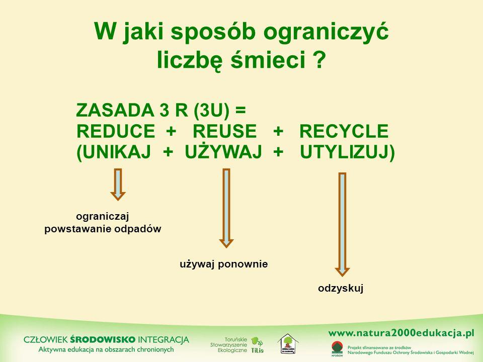 RECYKLING przetwarzanie odpadów, ponowne użycie ich surowców do produkcji nowych tworzyw.
