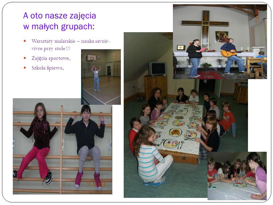A oto nasze zajęcia w małych grupach: Warsztaty malarskie – nauka savoir- vivre przy stole!!.