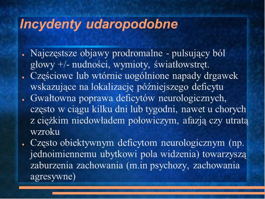 Incydenty udaropodobne Najczęstsze objawy prodromalne - pulsujący ból głowy +/- nudności, wymioty, światłowstręt. Częściowe lub wtórnie uogólnione nap