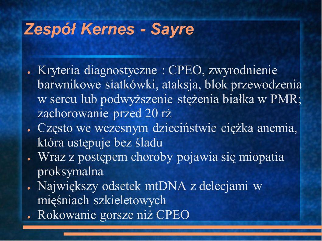 Zespół Kernes - Sayre Kryteria diagnostyczne : CPEO, zwyrodnienie barwnikowe siatkówki, ataksja, blok przewodzenia w sercu lub podwyższenie stężenia b