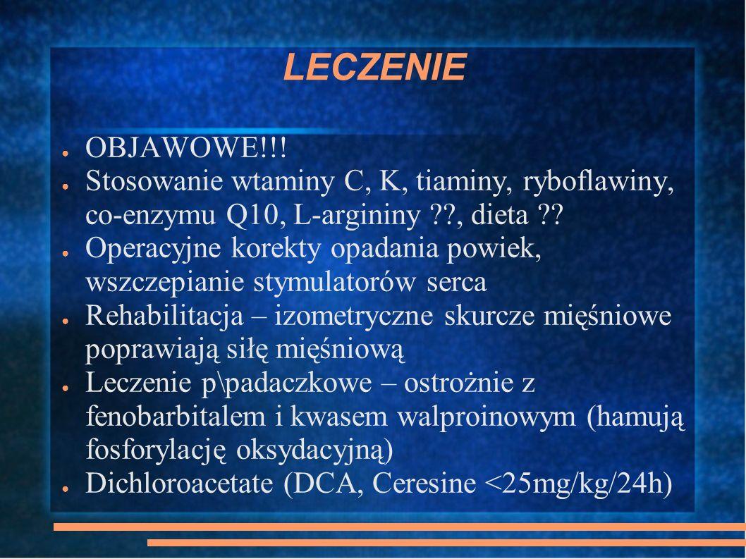 LECZENIE OBJAWOWE!!! Stosowanie wtaminy C, K, tiaminy, ryboflawiny, co-enzymu Q10, L-argininy ??, dieta ?? Operacyjne korekty opadania powiek, wszczep