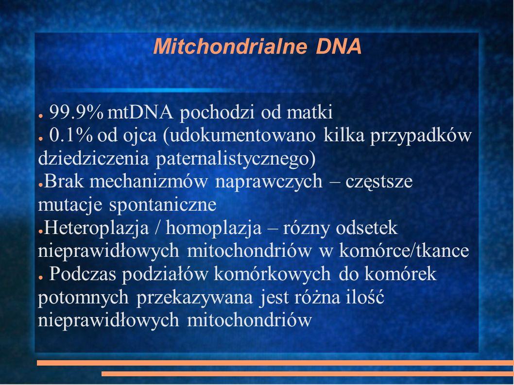 Charakterystyczną cechą chorób mitochondrialnych jest czasem całkowicie odmienny obraz kliniczny tego samego defektu genetycznego, zależny od różnic w proporcjach zmutowanego mtDNA do mtDNA prawidłowego.