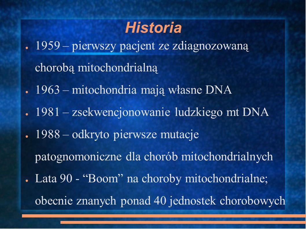 Historia 1959 – pierwszy pacjent ze zdiagnozowaną chorobą mitochondrialną 1963 – mitochondria mają własne DNA 1981 – zsekwencjonowanie ludzkiego mt DN