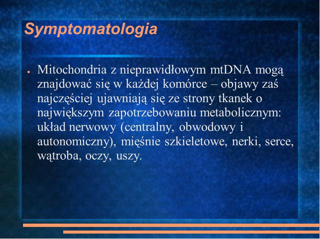 MNGIE Mitochondrial NeuroGastroIntestinal Encephalomyopathy mitochondrialna encefalomiopatia dotycząca układu nerwowego, żołądka i jelit (AR) 20-50rż, opadanie powiek, oftalmoplegia, przewlekłe jelitowe pseudozaparcia z miopatią mięśni szkieletowych i obwodowa neuropatia przewlekłe nudności, wymioty, biegunki i zaburzenia wchłaniania – niedożywienie, kacheksja wielokrotne delecje mtDNA w mięśniach szkieletowych
