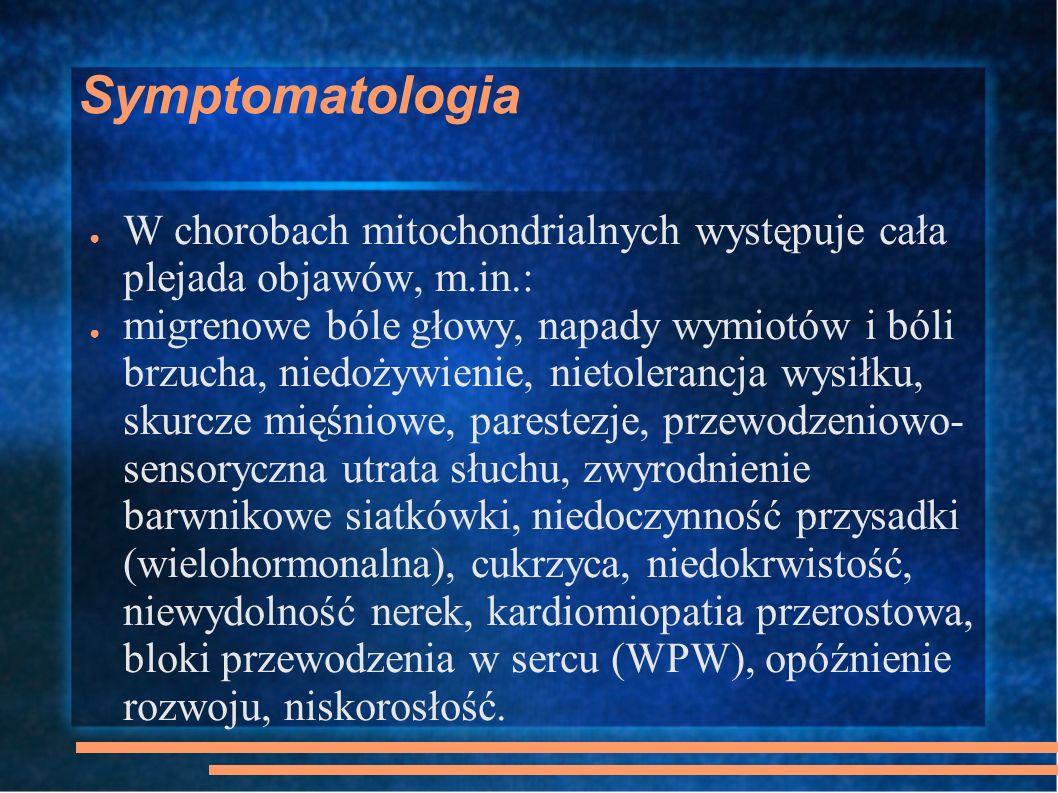 Zespół Leigha Podostra martwicza encefalomiopatia Heteroplazja >90%; jeżeli mniejsza zespół NARP (neuropathy, ataxia, retinitis pigmentosa) opóźnienie rozwoju lub regresja psychomotoryczna, ataksja, utrata wzroku, drgawki, neuropatia obwodowa, dysfunkcja pnia mózgu, hipotonia, zaburzenia oddychania, kwasica mleczanowa Wczesny początek choroby – śmierć w pierwszych latach życia MRI – degeneracja istoty szarej, ogniska martwicy w pniu mózgu; biopsja mięśni szkieletowych często bez zmian