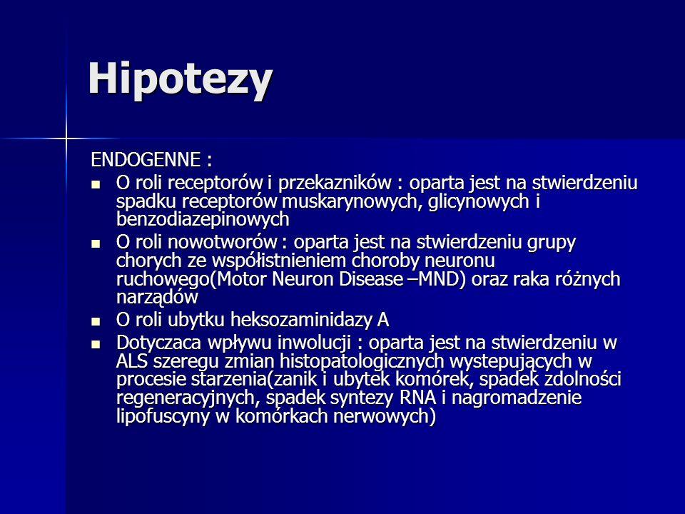 Hipotezy ENDOGENNE : O roli receptorów i przekazników : oparta jest na stwierdzeniu spadku receptorów muskarynowych, glicynowych i benzodiazepinowych