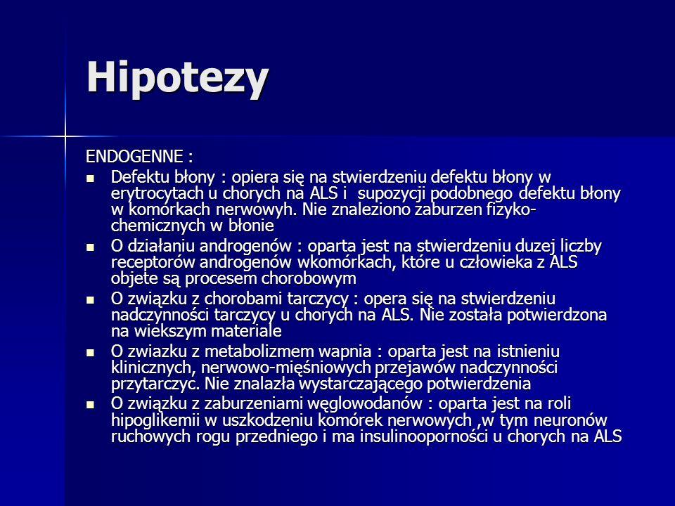 Hipotezy ENDOGENNE : Defektu błony : opiera się na stwierdzeniu defektu błony w erytrocytach u chorych na ALS i supozycji podobnego defektu błony w ko