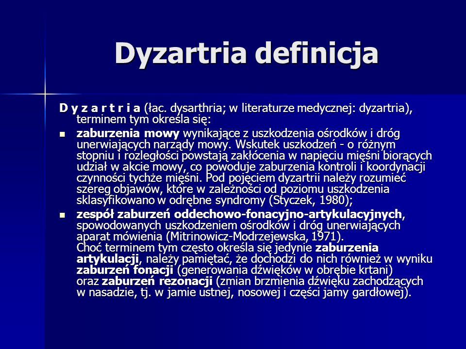 Dyzartria definicja D y z a r t r i a (łac. dysarthria; w literaturze medycznej: dyzartria), terminem tym określa się: zaburzenia mowy wynikające z us