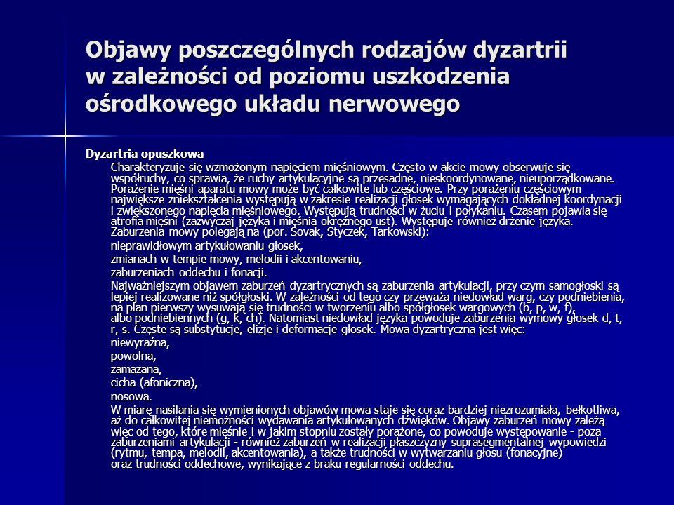 Objawy poszczególnych rodzajów dyzartrii w zależności od poziomu uszkodzenia ośrodkowego układu nerwowego Dyzartria opuszkowa Charakteryzuje się wzmoż