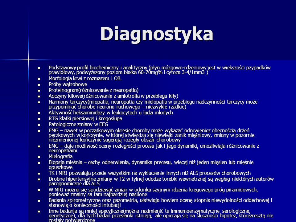 Diagnostyka Podstawowy profil biochemiczny i analityczny (płyn mózgowo-rdzeniowy jest w wiekszości pzypadków prawidłowy, podwyższony poziom białka 60-